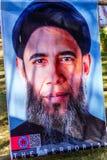 德黑兰,伊朗- 2016年11月05日:宣传海报在前美国使馆庭院里  免版税图库摄影