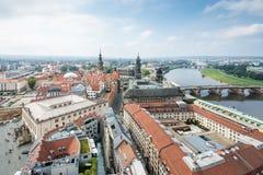 德累斯顿和河易北河都市风景  免版税图库摄影