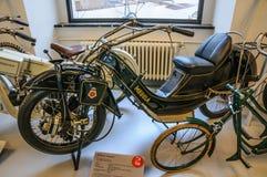 德累斯顿,德国- MAI 2015年:摩托车Megola 1922年在德累斯顿Tr 库存照片
