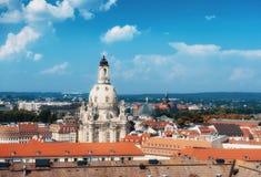 德累斯顿,萨克森,有我们的夫人教会的德国地平线  库存照片