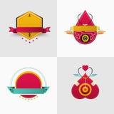 徽章和商标传染媒介设计 对coporate,品牌,飞行物, websit 免版税库存照片