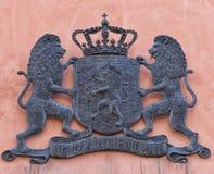 徽章在墙壁上的在Gamla斯坦,斯德哥尔摩 库存图片