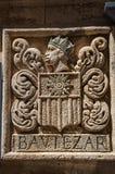 徽章在墙壁的石头雕刻了在Baux de普罗旺斯的历史市中心 免版税库存图片
