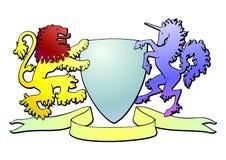 徽章有独角兽和狮子传染媒介的 库存图片