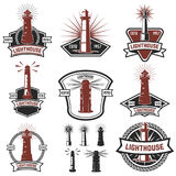 徽章的套与灯塔的 商标的设计元素, 免版税库存图片