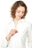 徽章美丽的空白命名显示的妇女年轻人 库存图片