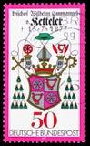 徽章,威谦廉Emmanual冯科特勒主教serie死亡百年,大约1977年 图库摄影