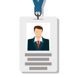 徽章,通行证在现代平的样式的卡片ID 免版税库存图片