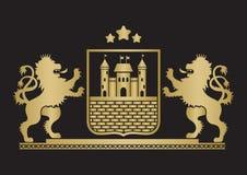 徽章-有堡垒,站立的砖墙和两的盾 库存图片