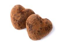 心形两个糖果的块菌。情人节的标志。 免版税库存照片