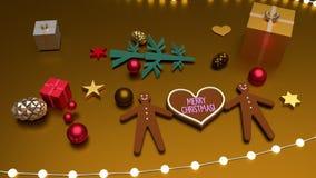 心形圣诞快乐问候和姜饼人 库存例证