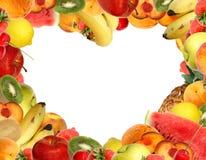 心形框架的果子 免版税库存照片