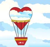 心形热空气的气球 免版税库存图片