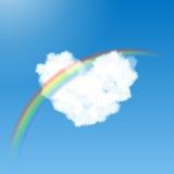 心形的云彩和彩虹 库存图片