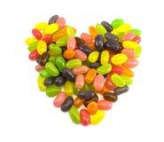 心形的五颜六色的软心豆粒糖 免版税库存图片