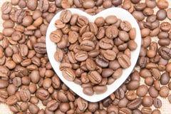 心形的咖啡豆 图库摄影
