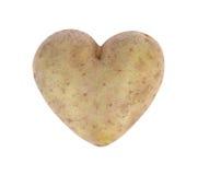 心形的土豆用小锄头,演播室射击 免版税图库摄影
