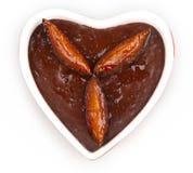 心形的巧克力沫丝淋 库存照片