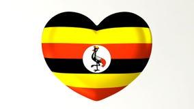 心形的旗子3D例证我爱乌干达 向量例证