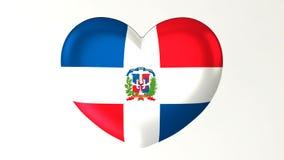 心形的旗子3D例证我爱多米尼加共和国 向量例证