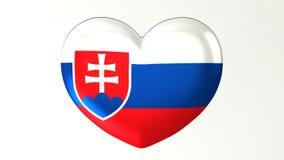 心形的旗子3D例证我爱斯洛伐克 皇族释放例证