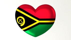 心形的旗子3D例证我爱瓦努阿图 库存例证