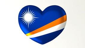 心形的旗子3D例证我爱马绍尔群岛 皇族释放例证