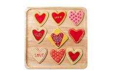 心形的曲奇饼为情人节 免版税库存图片