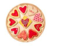 心形的曲奇饼为情人节 免版税库存照片