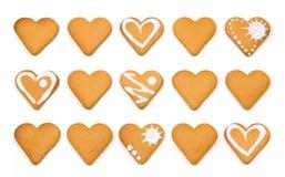 心形的曲奇饼堆被隔绝在白色 库存图片