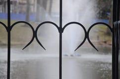 心形的栏杆装饰 免版税库存图片