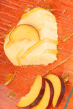心形的桃子巴伐利亚奶油(bavarese) 图库摄影