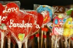 心形的棒棒糖在巴塞罗那,西班牙 库存照片