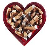 心形的烟灰缸 免版税图库摄影
