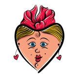 心形的爱恋的女孩面孔,逗人喜爱的妇女,传染媒介例证 免版税库存照片