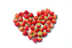 心形的草莓 免版税图库摄影