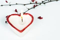 心形的蜡烛 库存图片