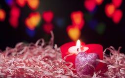 心形的蜡烛 免版税库存照片
