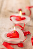 心形的蜡烛 库存照片
