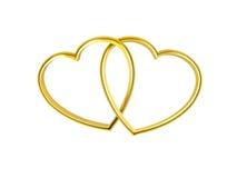 心形的金黄环形 免版税库存图片