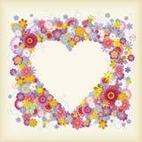 心形花卉的框架 免版税库存照片