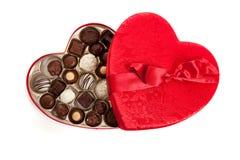 心形配件箱的糖果 免版税图库摄影