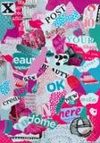心情委员会由杂志制成以女性的桃红色和蓝绿色 库存照片