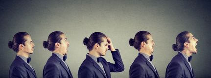 心情摇摆 表达的人不同的消极情感和感觉 免版税库存图片