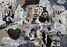 心情板,拼贴画与高雅元素的大气板料与白色,黑和灰色和与心脏,蝴蝶,芭蕾的蓝色 库存图片