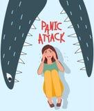 ?? 她哭泣,并且她惊吓了 心情,悲观 在妖怪的下颌的恐惧 麻烦,精神障碍传染媒介 向量例证