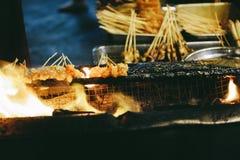 心满意足或在火的Satay 免版税库存图片