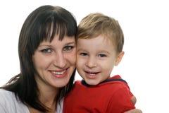 心爱她的母亲儿子 免版税库存照片