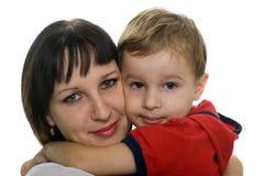 心爱她的母亲儿子 免版税库存图片