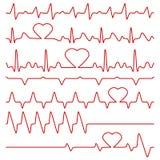 心电图和脉冲导航与心脏形状的标志 库存例证